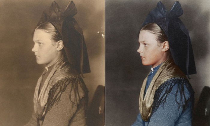 Протестантка из Лотарингии одета в темные одежды и большой schlupfkapp на голове показывает, что она не замужем.