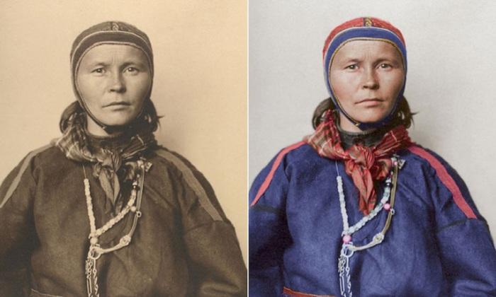 Традиционный костюм, который был сделан из оленьей кожи и шерсти, и использовался как рабочая одежда или как обрядный наряд.
