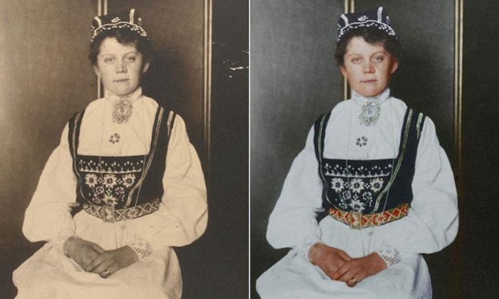 Белое платье с вышивкой и маленькая шапочка на голове означала, что женщина замужем.