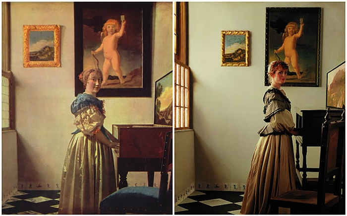 На полотне голландский художник Ян Вермеер изобразил женщину в роскошном платье, играющую на клавишном музыкальном инструменте.
