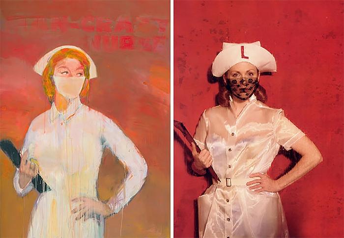 На создание картин с медсестрами американского художника Ричарда Принса натолкнули обложки женских любовных романов.