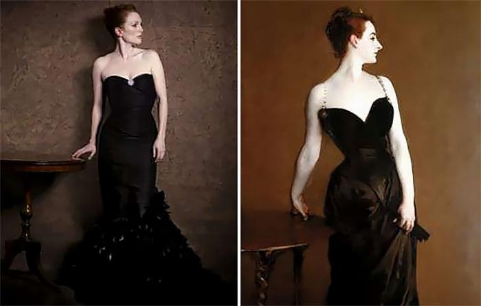 Для оригинальной картины американскому художнику Джону Сардженту позировала парижская светская красавица Виржини Готро.