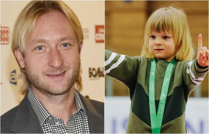 Прославленный фигурист, двукратный олимпийский чемпион Евгений Плющенко и его 5-летний сын Александр.