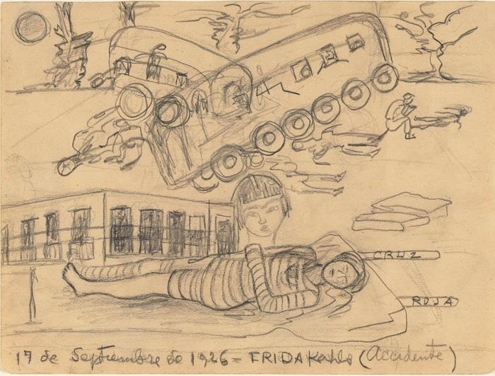 Набросок катастрофы, в которую попала Фрида Кало, получив при этом многочисленные тяжелые травмы.