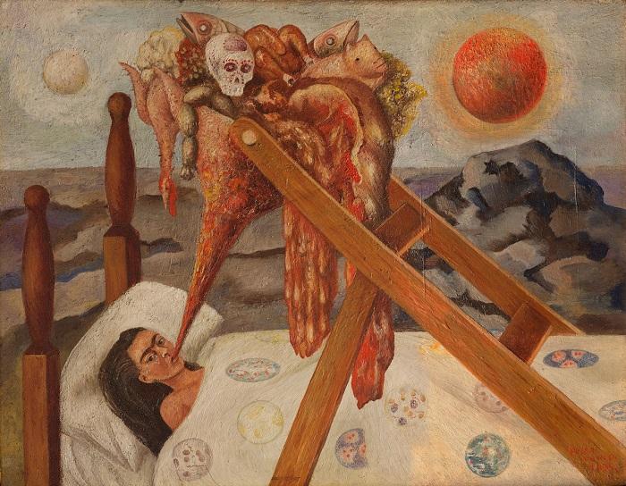 Свои переживания по поводу здоровья, вызванные неправильной дозировкой лекарства и новым корсетом, Фрида Кало изобразила на картине.