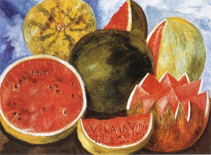 Эта яркая и жизнеутверждающая картина считается последней из 145-ти нарисованных Фридой Кало.