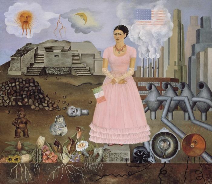 На своей картине художница сравнивает гармонию природы и человека с бездушной суетой западного мира.