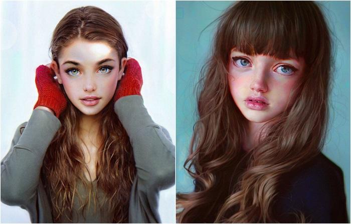 Гиперреалистические цифровые портреты девушек.