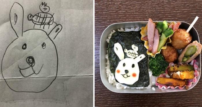 Озеки пытается с точностью повторить рисунок дочери в блюде, которое готовит.