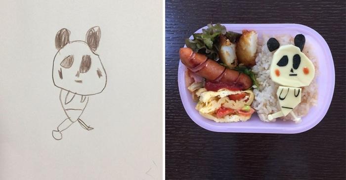 Панда с рисунка дочери дополняет и украшает обеденный перекус.