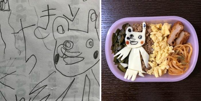 Из риса и других продуктов папа создал изображения персонажей популярных аниме и мультфильмов.