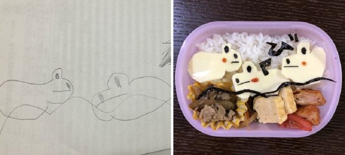 Оригинально оформленный обед для ребенка.