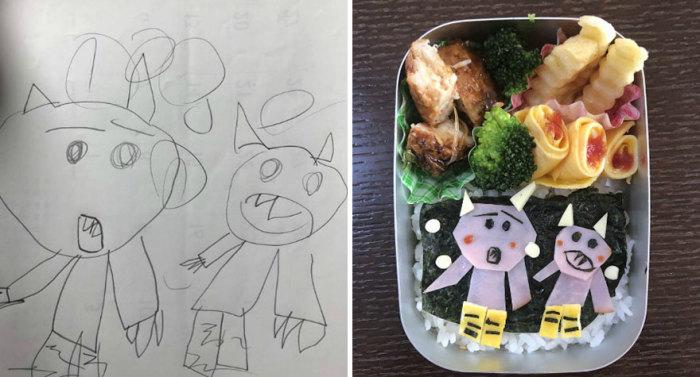 Такафуми Озеки (Takafumi Ozeki) готовит бэнто по сюжетным рисункам своей дочери.