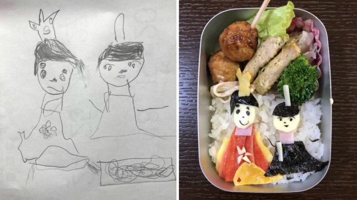 Недавно нарисованные принцесса и принц ожили в яркой коробочке для еды.