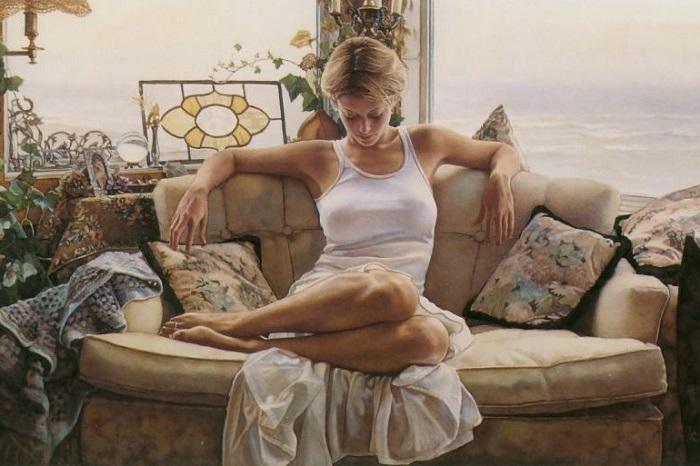 Любимые темы художника — женщины,которые отражают насыщенность и невинность.