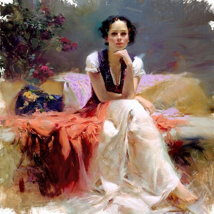 Работа современного итальянского художника, вызывающая ощущение тепла и любви.