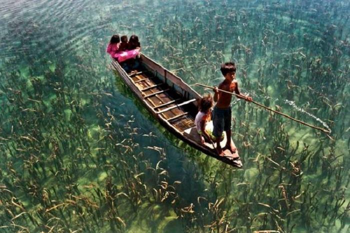Детишки самостоятельно плавают на лодке по озеру с кристально прозрачной водой.