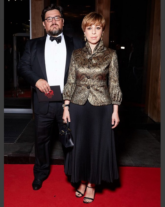 Гости вечера, российская журналистка и телеведущая Марианна Максимовская с мужем, на вручении премии «Человек года-2018».