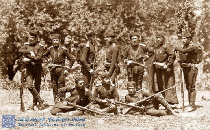 Солдаты, принимавшие участие в Русско-турецкой войне.