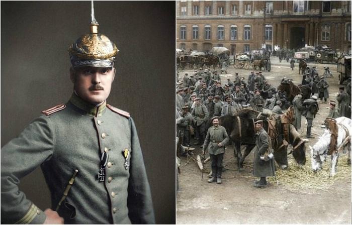 Раскрашенные снимки немецких солдат времен Первой мировой войны.