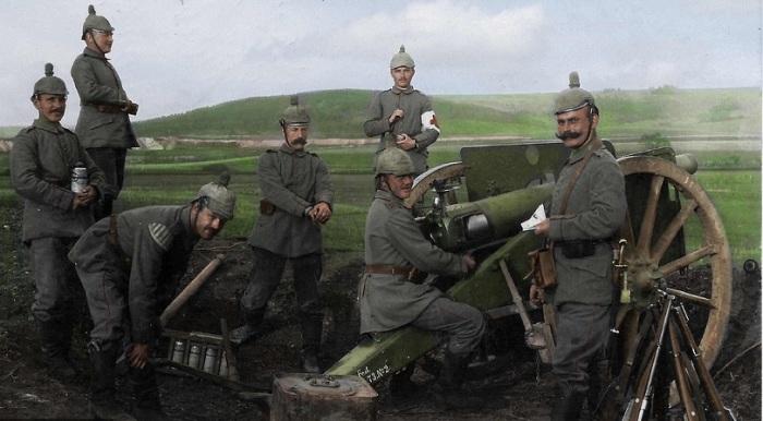 9-сантиметровая немецкая пушка, выведенная на огневую позицию.