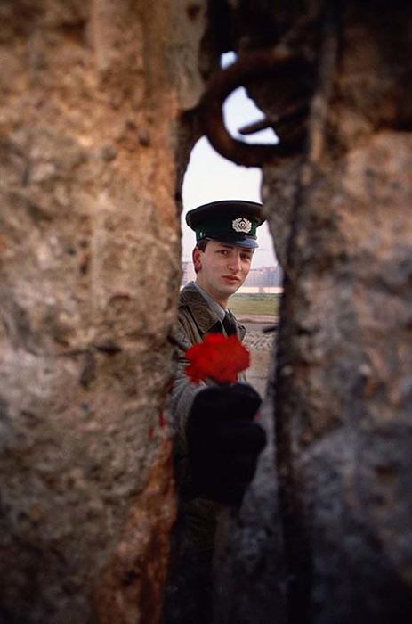 Охранник Берлинской стены,  в день, когда она была снесена, передаёт цветок через расщелину. (1989).