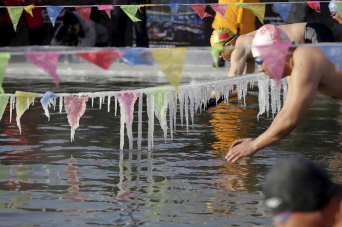 Любители экстрима могут принять участие в соревнованиях по плаванию под сосульками.