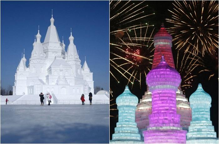 Удивительные скульптуры представленные на фестивале льда и снега в Харбине.
