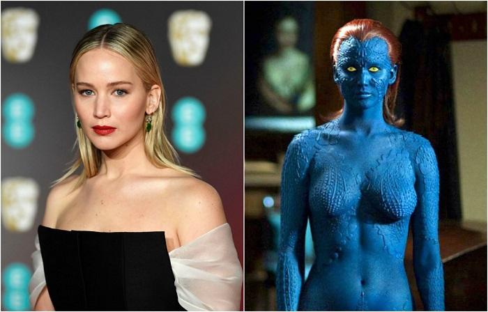 В образе желтоглазой девушки с алыми волосами и синей кожей совершенно невозможно угадать голубоглазую блондинку Дженнифер.