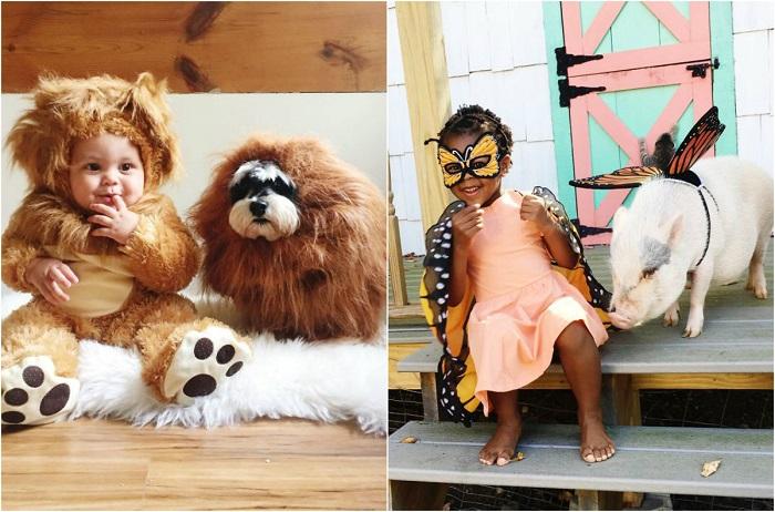 Счастливые дети и животные.