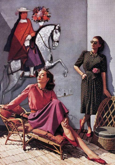 Модели Лиз Гиббонс и Бижу Баррингтон на страницах журнала «Harper's Bazaar».