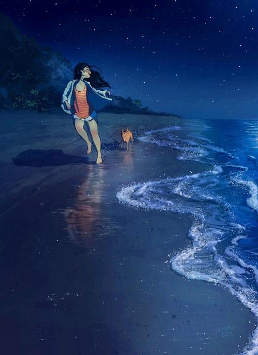 Ночная прогулка с лучшим другом по морскому побережью под светом далеких звезд.