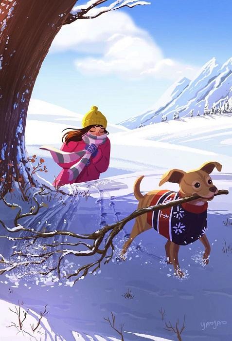 Зимние прогулки вместе с собакой становятся гораздо подвижнее и веселее.