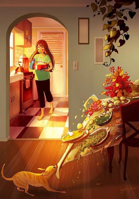 У домашнего питомца может быть свой взгляд на правильную сервировку праздничного стола.