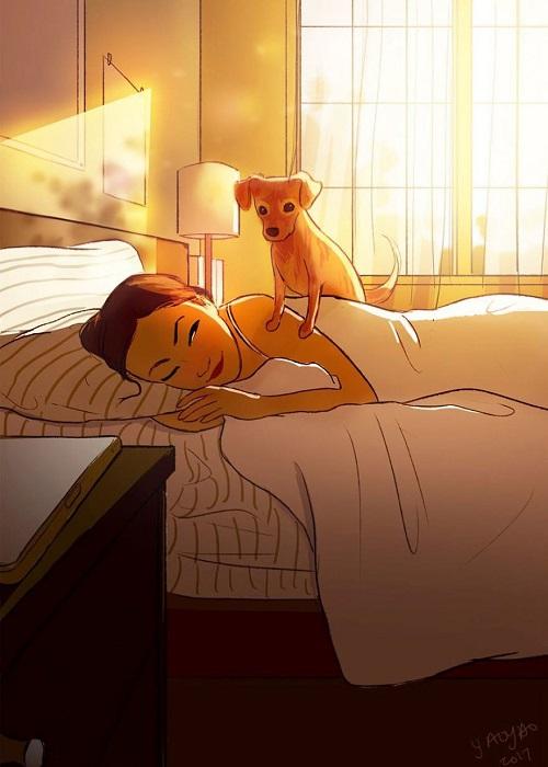 Хозяева собак знают, что четвероногий питомец – самый лучший будильник.