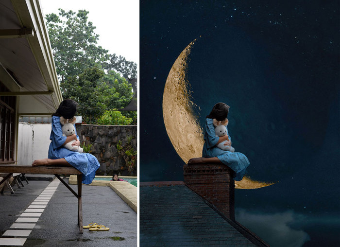 Снимки, сделанные на заднем дворе, с помощью графического редактора превращаются в волшебные и удивительные истории.
