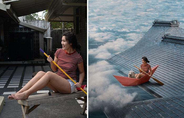 Один взмах весла и задний двор превращается в бескрайний облачный океан.