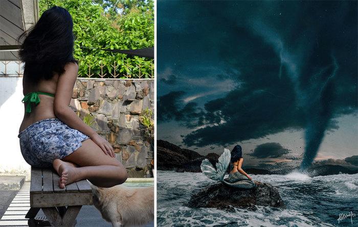 Обыкновенная девушка превратилась в русалку на скале, наблюдающую за смерчем в океане.
