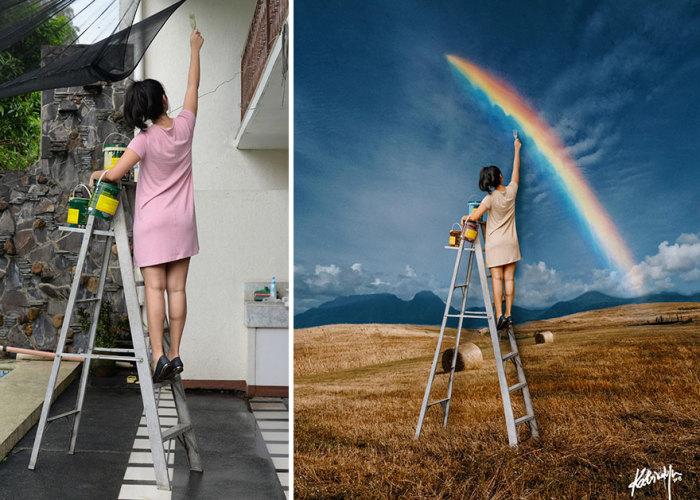 Смелая девушка, которая под настроение может разрисовать даже небо.