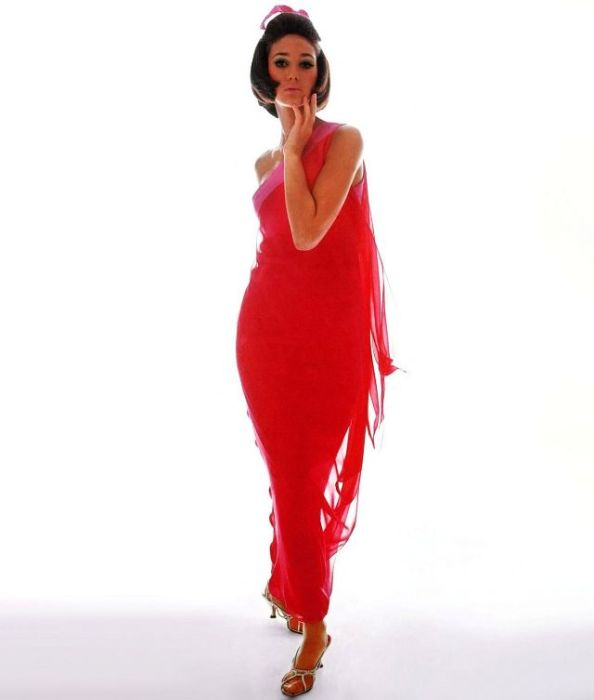 Мариса Беренсон в красном вечернем платье от Bill Blass позирует фотографу Берту Стерну.