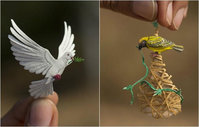 Удивительные бумажные птицы от индийских художников.