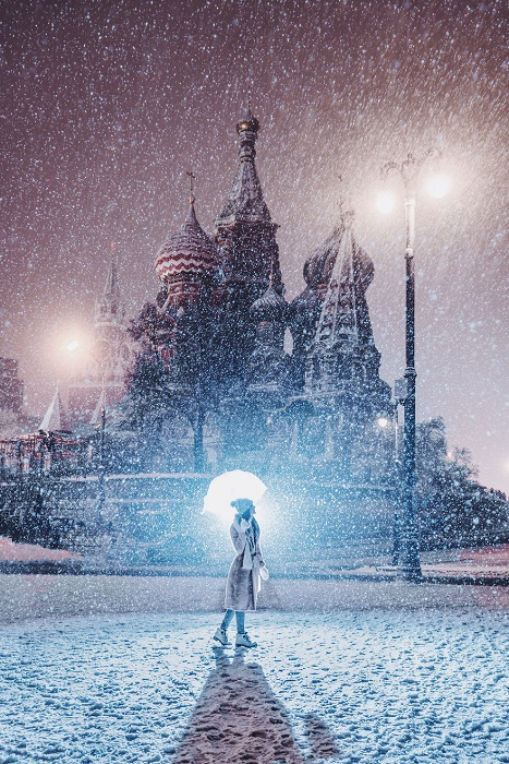 Ночное очарование зимней Москвы.