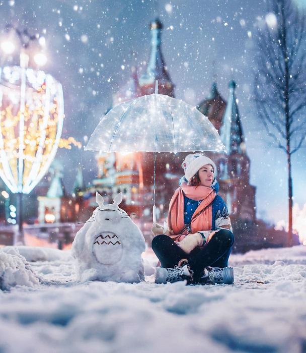 Отдых на снегу со сказочным другом.