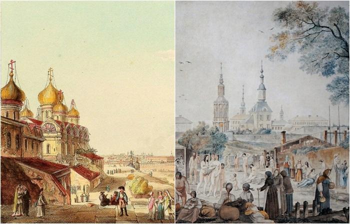 Литографии, на которых изображена Москва, какой она была 200 лет.