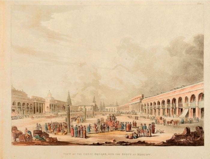 Красная площадь в Москве, какой она была 200 лет назад.