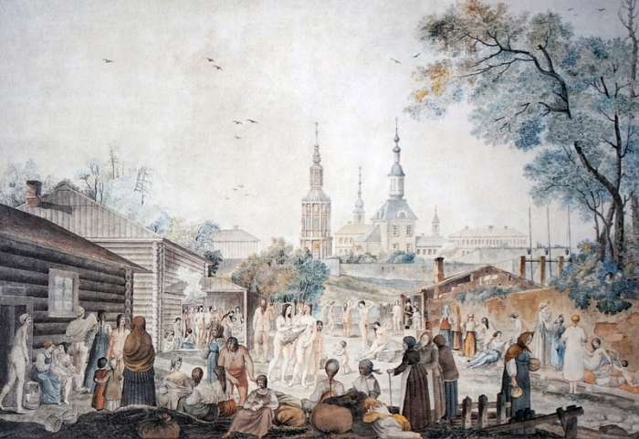 Вид Серебрянических бань и их окрестностей в Москве.