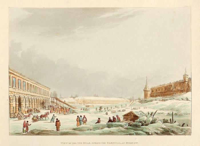 В праздники жители Москвы сооружали огромную ледяную горку.