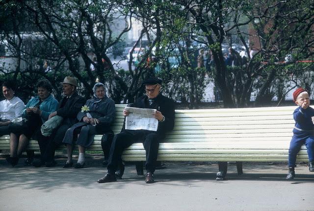 Пожилые люди отдыхают в парковой зоне.