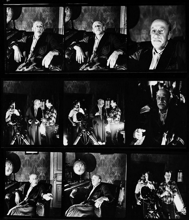 Евгений Евстигнеев на съемках художественного фильма «Джек Восьмеркин — американец». 1986 год.