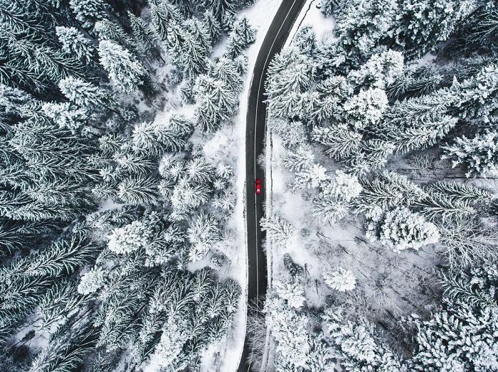 Категория: «Места». Автор снимка с красным автомобилем, проезжающим по дороге через заснеженный лес, – румынский фотограф Калин Стан (Calin Stan).